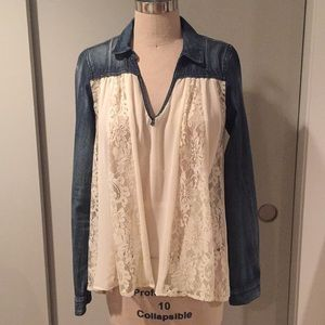 Free People denim and lace shirt